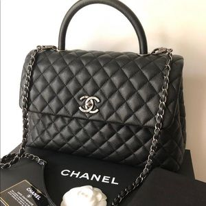 CHANEL Caviar Quilted Large Coco Handle Flap Black